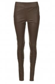 STUDIO AR |  Lamb leather stretch legging Eden | dark brown  | Picture 1