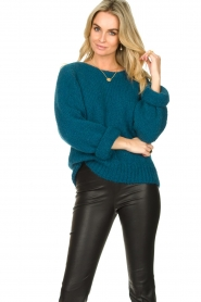 Knit-ted |  Knitted sweater Linda | blue  | Picture 4