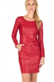 Patrizia Pepe |  Faux-leather dress Candice | red  | Picture 2
