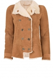 Suede lammy coat Frensi | brown