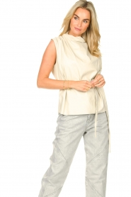 STUDIO AR |  Sleeveless leather top Sadie | natural  | Picture 2