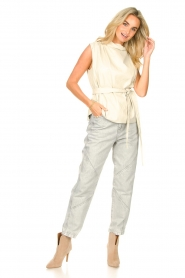STUDIO AR |  Sleeveless leather top Sadie | natural  | Picture 3