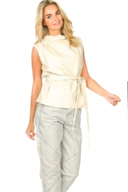 STUDIO AR |  Sleeveless leather top Sadie | natural  | Picture 4