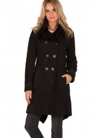 Patrizia Pepe | Suède lammy coat Cappott | zwart  | Afbeelding 2