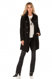 Patrizia Pepe | Suède lammy coat Cappott | zwart  | Afbeelding 3