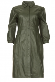 STUDIO AR |  Leather dress with puff sleeves Jamil  | green  | Picture 1