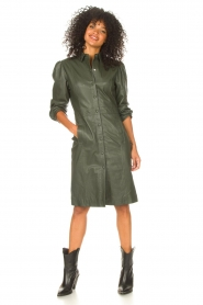 STUDIO AR |  Leather dress with puff sleeves Jamil  | green  | Picture 3