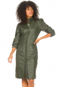 STUDIO AR |  Leather dress with puff sleeves Jamil  | green  | Picture 5