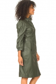STUDIO AR |  Leather dress with puff sleeves Jamil  | green  | Picture 6