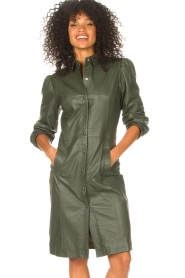 STUDIO AR |  Leather dress with puff sleeves Jamil  | green  | Picture 2