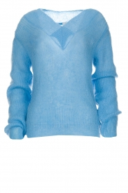 Knit-ted |  Sweater with V-neck Onah | blue  | Picture 1