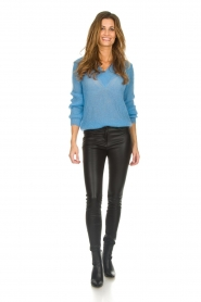 Knit-ted |  Sweater with V-neck Onah | blue  | Picture 3
