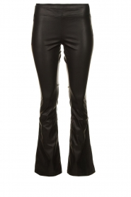 Knit-ted |  Faux leather flared pants Afke | black  | Picture 1