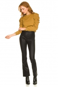 Knit-ted |  Faux leather flared pants Afke | black  | Picture 3