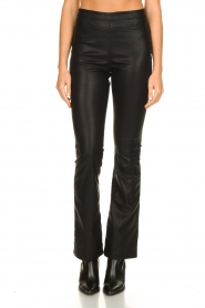 Knit-ted |  Faux leather flared pants Afke | black  | Picture 4