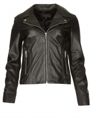 STUDIO AR |  Leather biker jacket with tricot details Kendall | black  | Picture 1