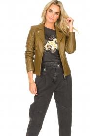 STUDIO AR |  Leather biker jacket Cherry | safari  | Picture 2