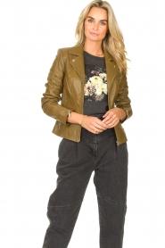 STUDIO AR |  Leather biker jacket Cherry | safari  | Picture 5