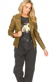 STUDIO AR |  Leather biker jacket Cherry | safari  | Picture 4