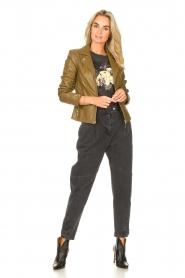 STUDIO AR |  Leather biker jacket Cherry | safari  | Picture 3