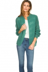 Knit-ted |  Knitted cardigan Avery | green  | Picture 4