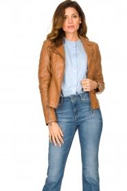 STUDIO AR BY ARMA |  Leather biker jacket Cherry | camel  | Picture 2