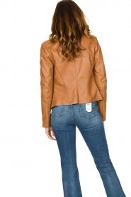 STUDIO AR BY ARMA |  Leather biker jacket Cherry | camel  | Picture 6