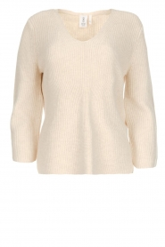 Knit-ted |  Sweater with V-neck Leonie | natural