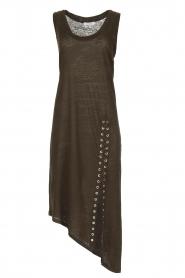 IRO | Schuin afgesneden jurk Karossi | groenbruin  | Afbeelding 1