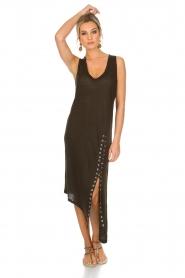 IRO | Schuin afgesneden jurk Karossi | groenbruin  | Afbeelding 2
