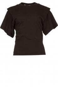 IRO | T-shirt met schouderdetails Belly | zwart  | Afbeelding 1