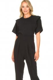 IRO | T-shirt met schouderdetails Belly | zwart  | Afbeelding 2