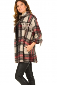 IRO    Checkered coat with fringes Cocha   red    Picture 5