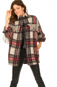 IRO    Checkered coat with fringes Cocha   red    Picture 4