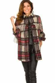 IRO    Checkered coat with fringes Cocha   red    Picture 2