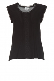 Knit-ted |  Top with lace Hanna | black  | Picture 1