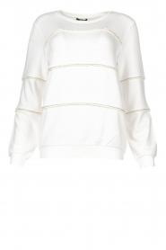 Liu Jo |  Sweater with pearls Stripe | white  | Picture 1