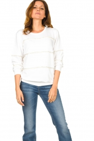 Liu Jo |  Sweater with pearls Stripe | white  | Picture 4