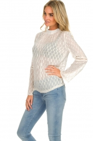 Knit-ted |  See-through blouse with golden details Drew | white  | Picture 5
