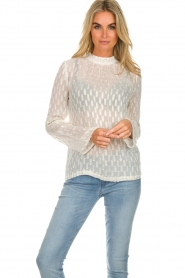 Knit-ted |  See-through blouse with golden details Drew | white  | Picture 4