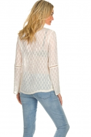 Knit-ted |  See-through blouse with golden details Drew | white  | Picture 6