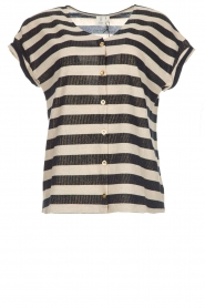 Knit-ted | Gestreepte blouse met lurex finish Holly | blauw  | Afbeelding 1