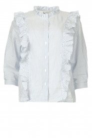 Lolly's Laundry |  Blouse with ruffles Hanni | blue  | Picture 1