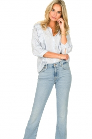 Lolly's Laundry |  Blouse with ruffles Hanni | blue  | Picture 4