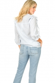 Lolly's Laundry |  Blouse with ruffles Hanni | blue  | Picture 6