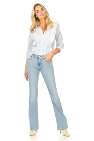 Lolly's Laundry |  Blouse with ruffles Hanni | blue  | Picture 3