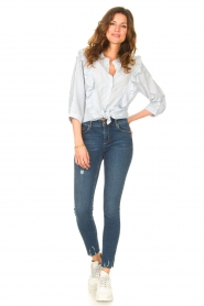 Lolly's Laundry |  Blouse with ruffles Hanni | light blue  | Picture 3
