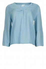 Knit-ted | Denim top Hanneke | blauw  | Afbeelding 1