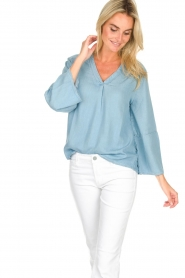Knit-ted |  Denim top Hanneke | blue  | Picture 2