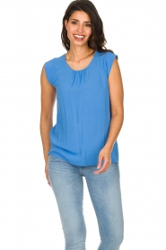 Knit-ted |  Top with tiny pleats Fay | blue  | Picture 4